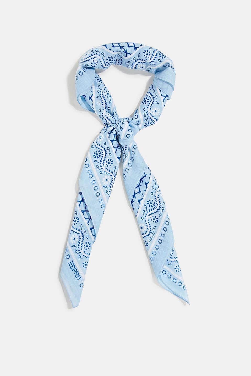 Bandana print scarf, 100% organic cotton, LIGHT BLUE, detail image number 0