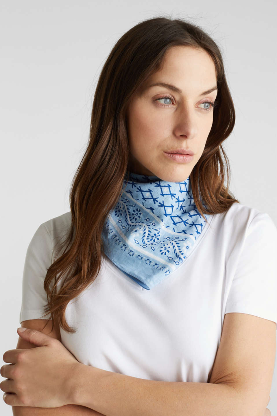 Bandana print scarf, 100% organic cotton, LIGHT BLUE, detail image number 4
