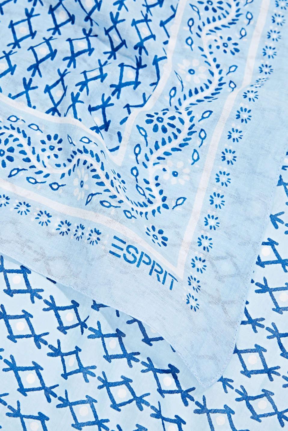 Bandana print scarf, 100% organic cotton, LIGHT BLUE, detail image number 3