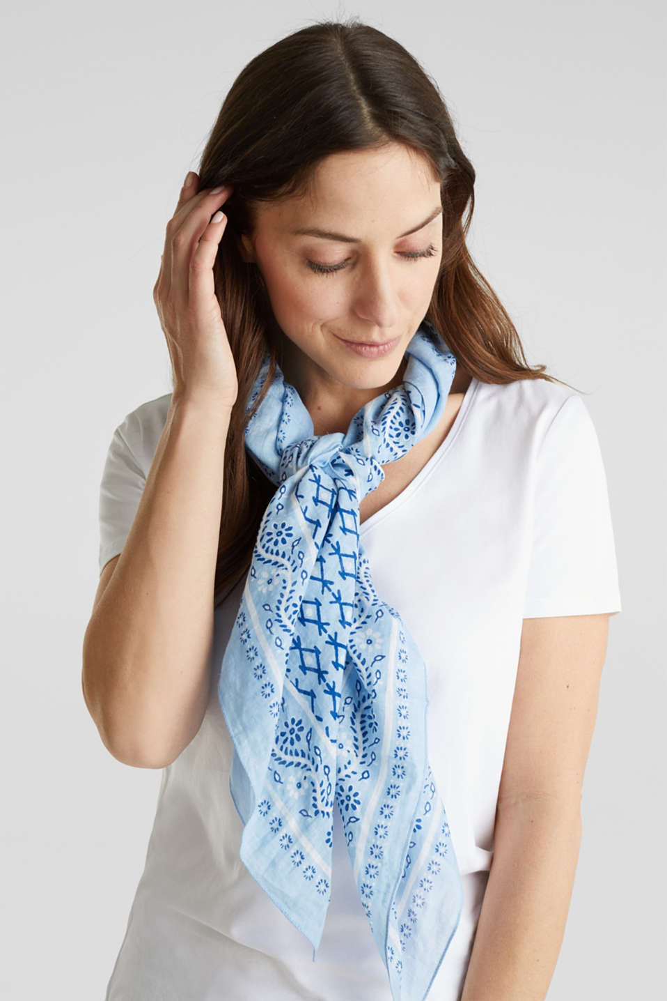 Bandana print scarf, 100% organic cotton, LIGHT BLUE, detail image number 1