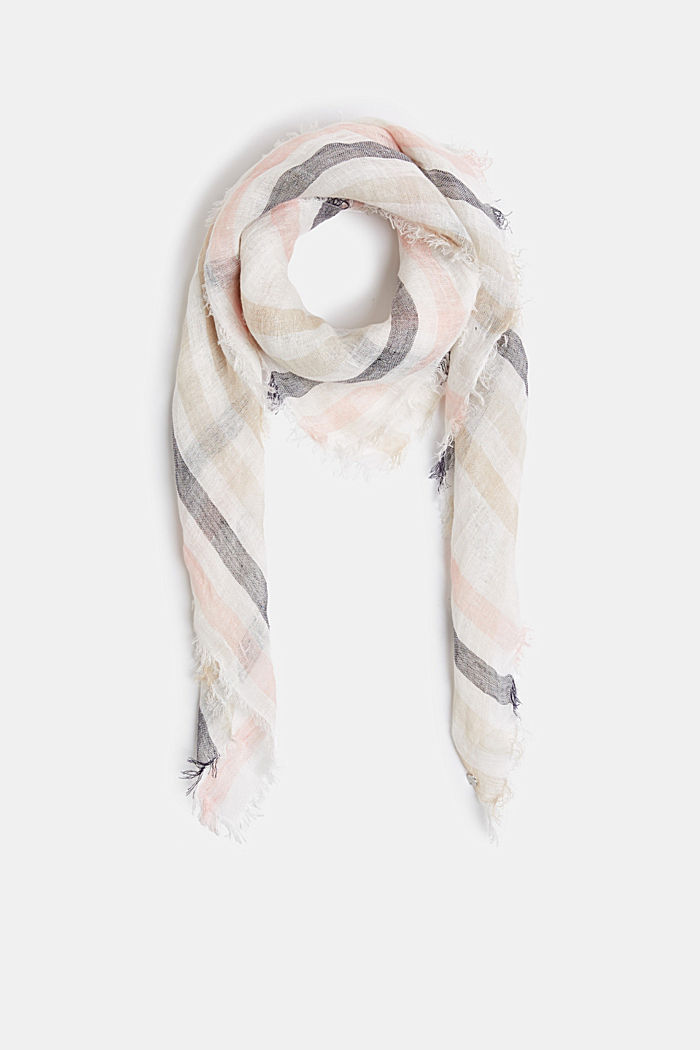 100% linen: Scarf with stripes, BEIGE, detail image number 0
