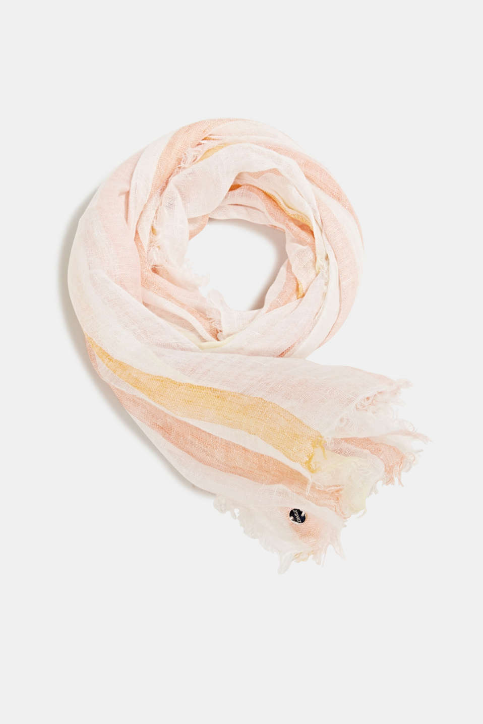 100% linen: Scarf with stripes, ORANGE, detail