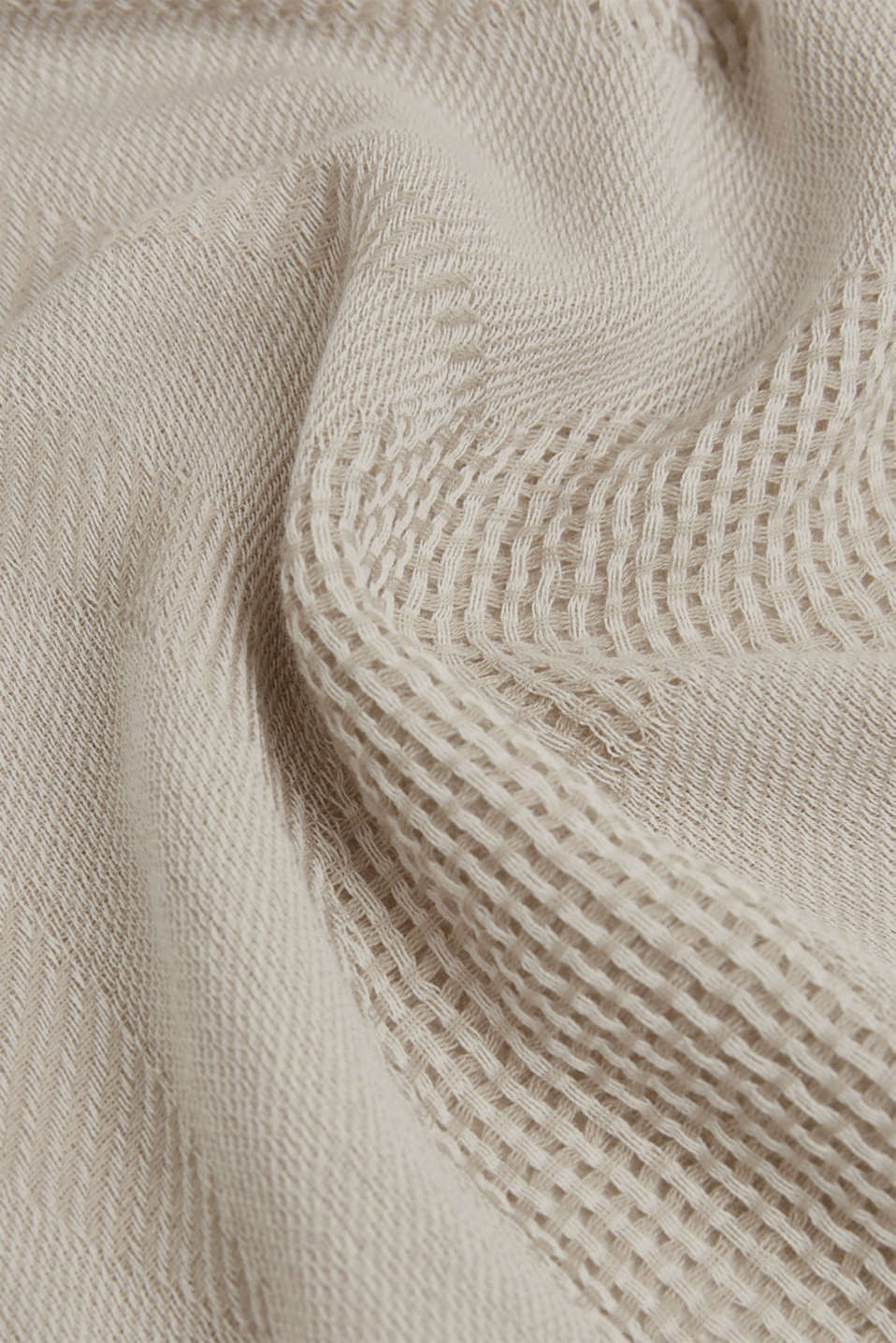 Scarf with stripes and an interwoven logo, BEIGE, detail image number 2
