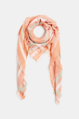 Scarf with stripes and an interwoven logo, RUST ORANGE, detail