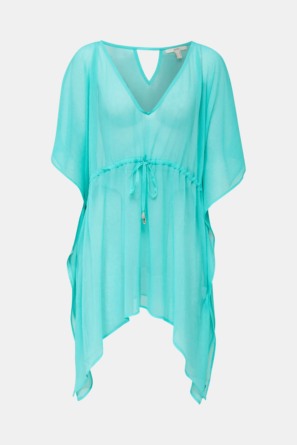 Esprit - Geweven poncho in crinkle look