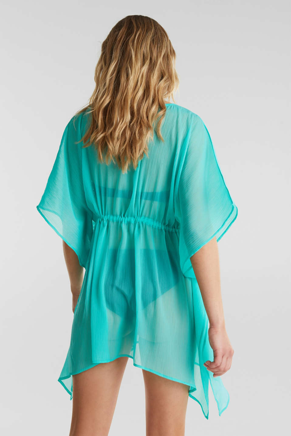 Woven poncho in a crinkled look, TURQUOISE, detail image number 3