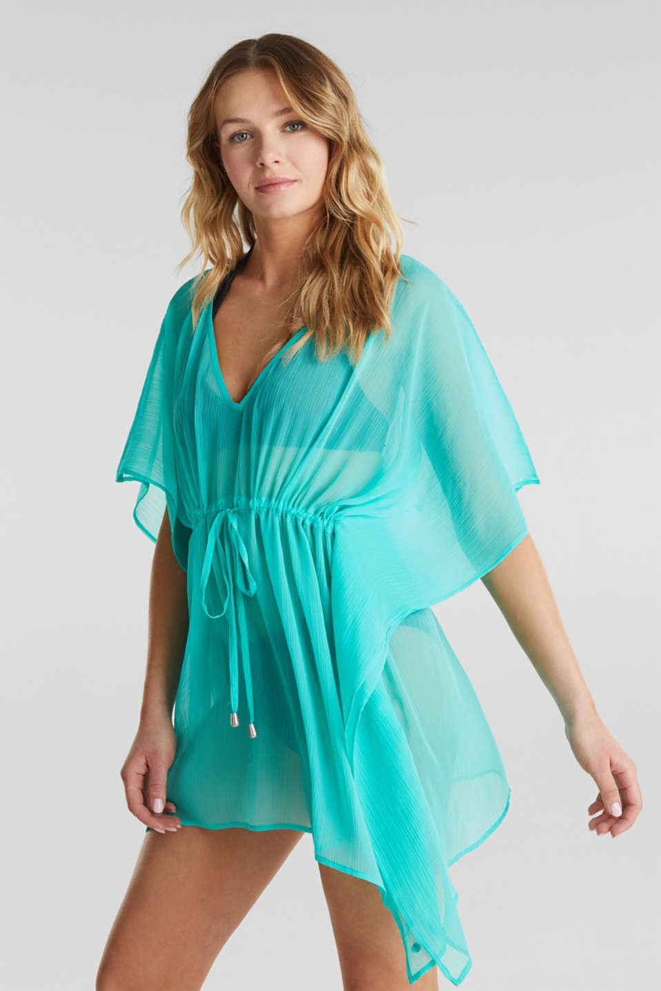 Woven poncho in a crinkled look, TURQUOISE, detail image number 1