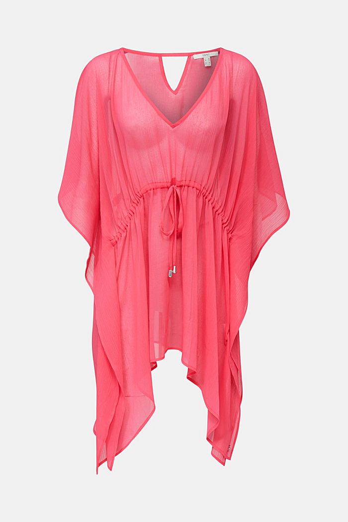 Geweven poncho in crinkle look, PINK FUCHSIA, detail image number 0