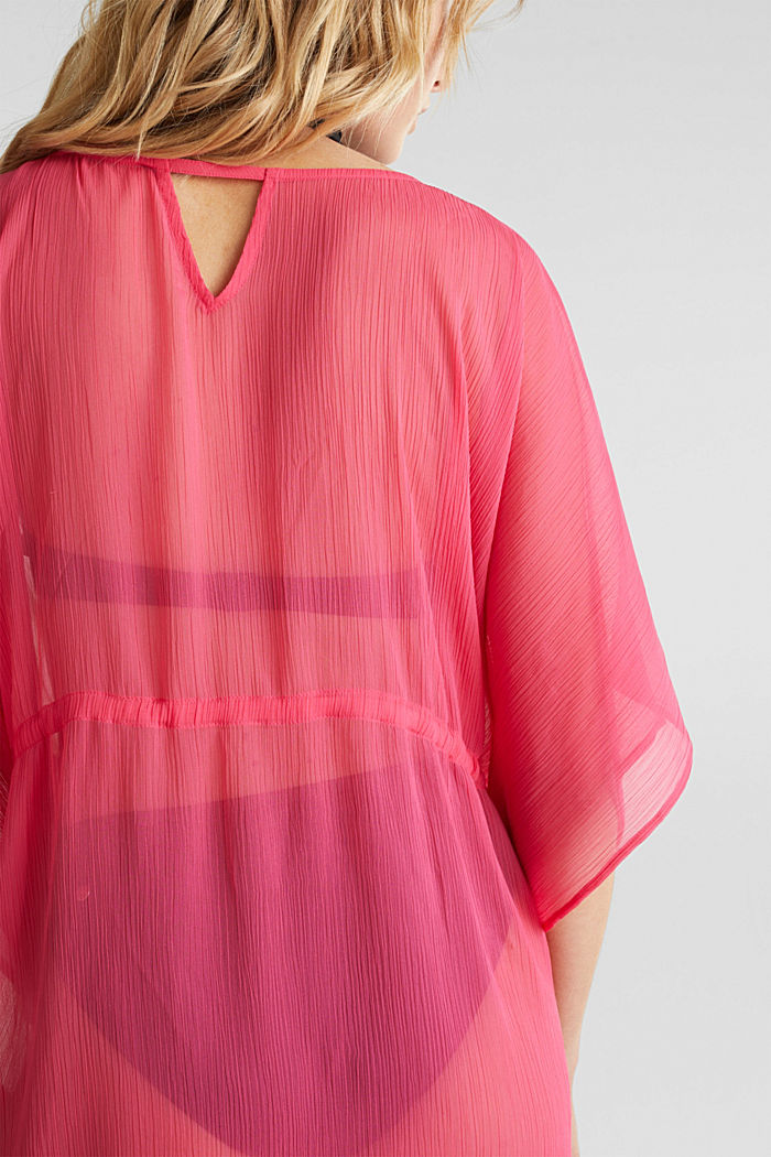 Geweven poncho in crinkle look, PINK FUCHSIA, detail image number 3