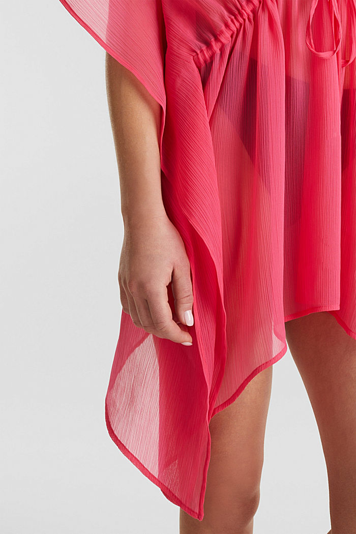 Geweven poncho in crinkle look, PINK FUCHSIA, detail image number 2