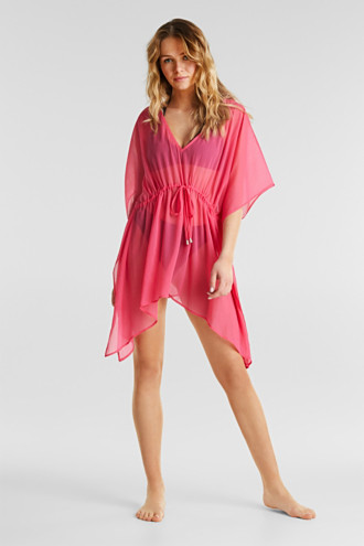 Woven poncho in a crinkled look