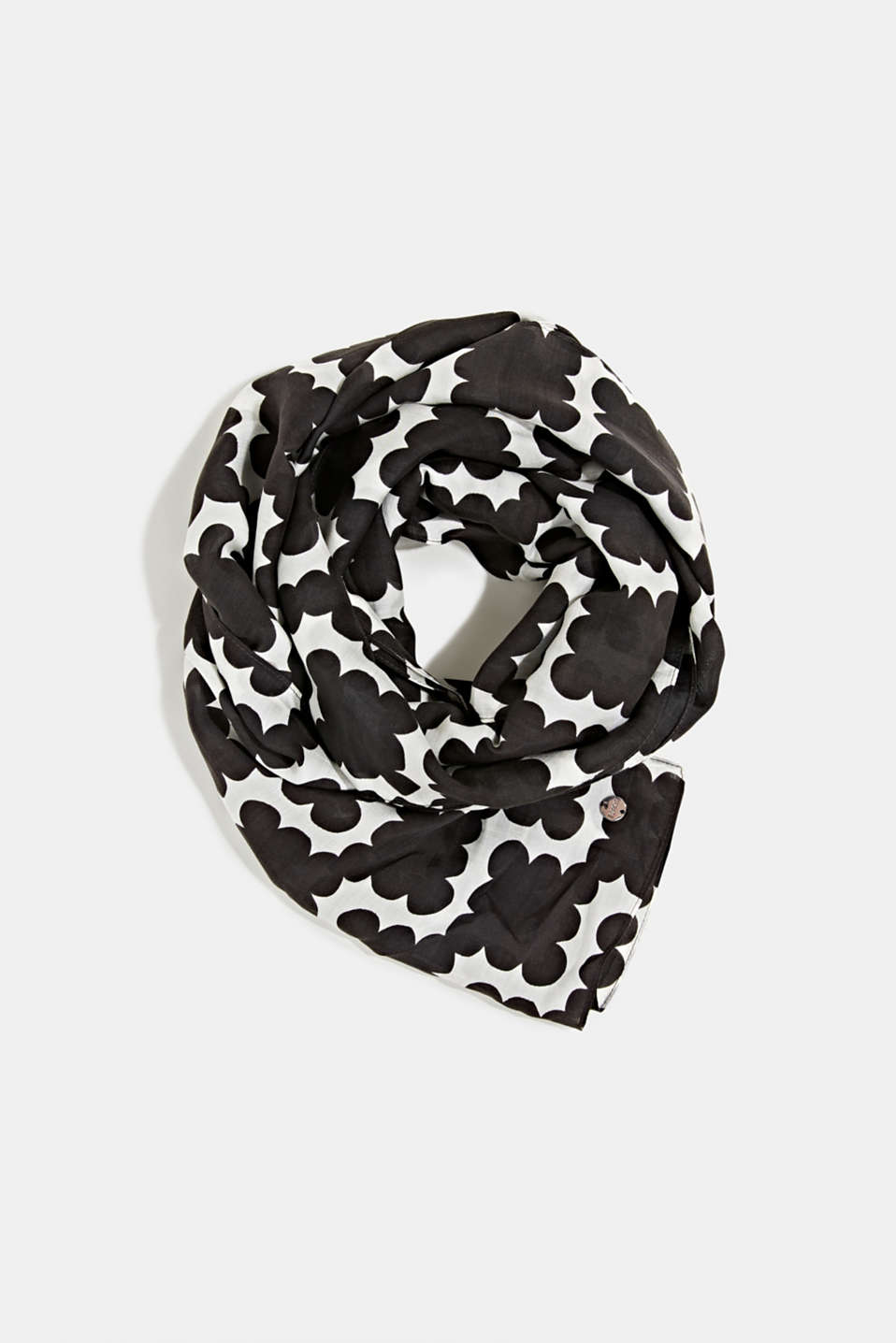 Esprit - Printed scarf made of organic blended silk