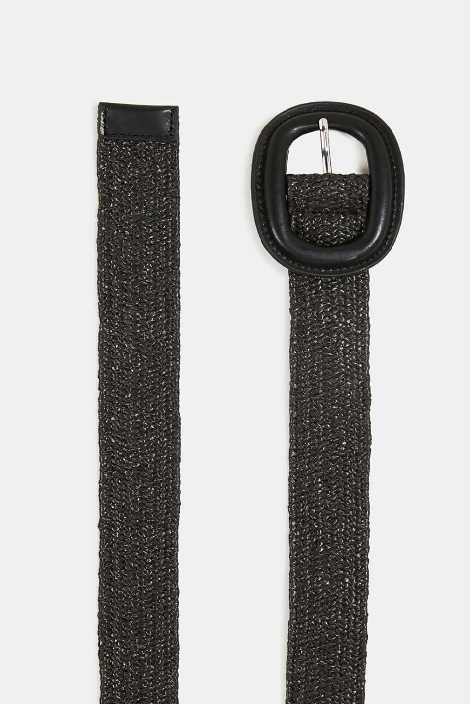 Braided belt with a covered buckle, BLACK, detail image number 1