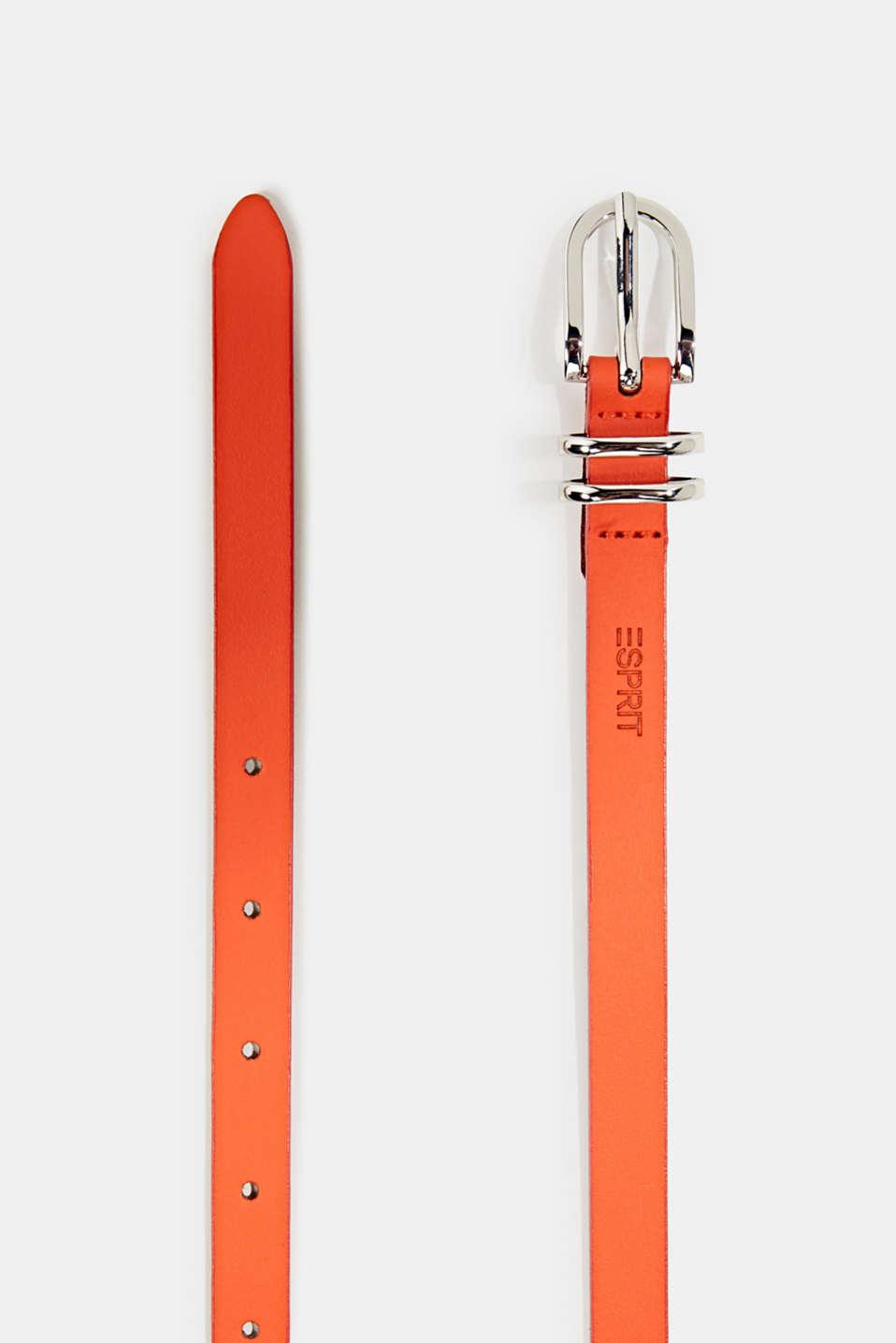 Narrow leather belt, RED ORANGE, detail image number 1