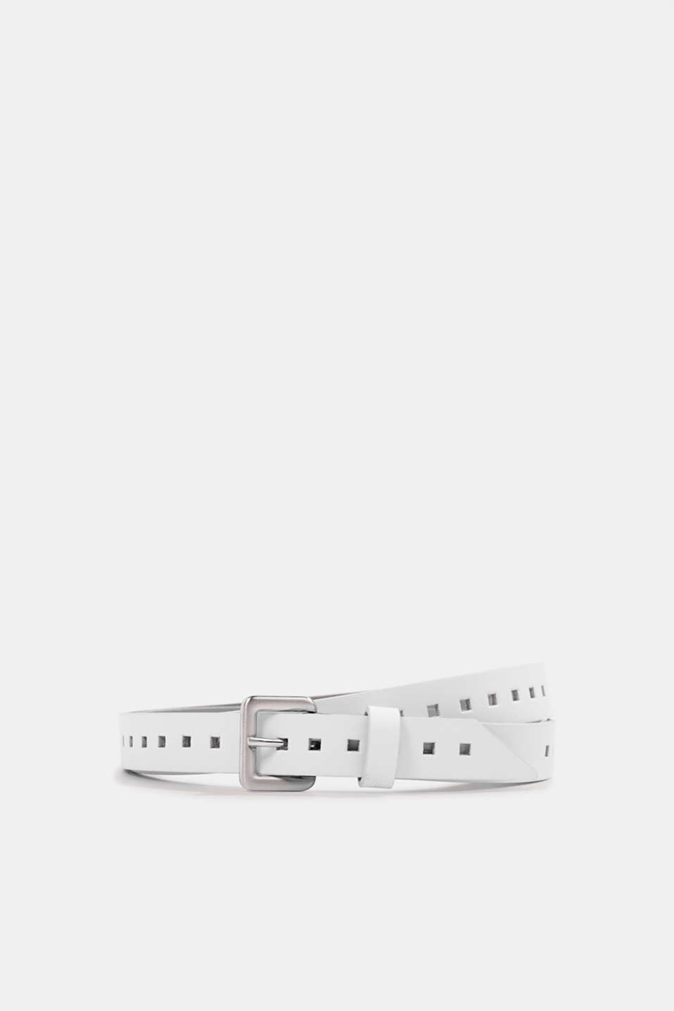 Leather belt with a hole pattern, OFF WHITE, detail image number 0