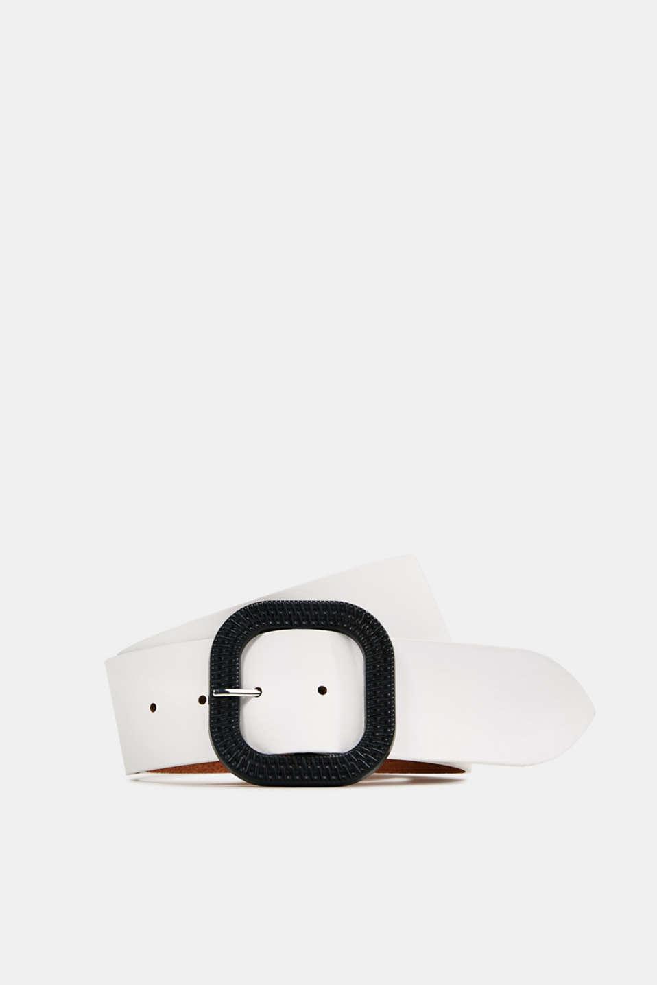 Leather belt, WHITE, detail image number 0