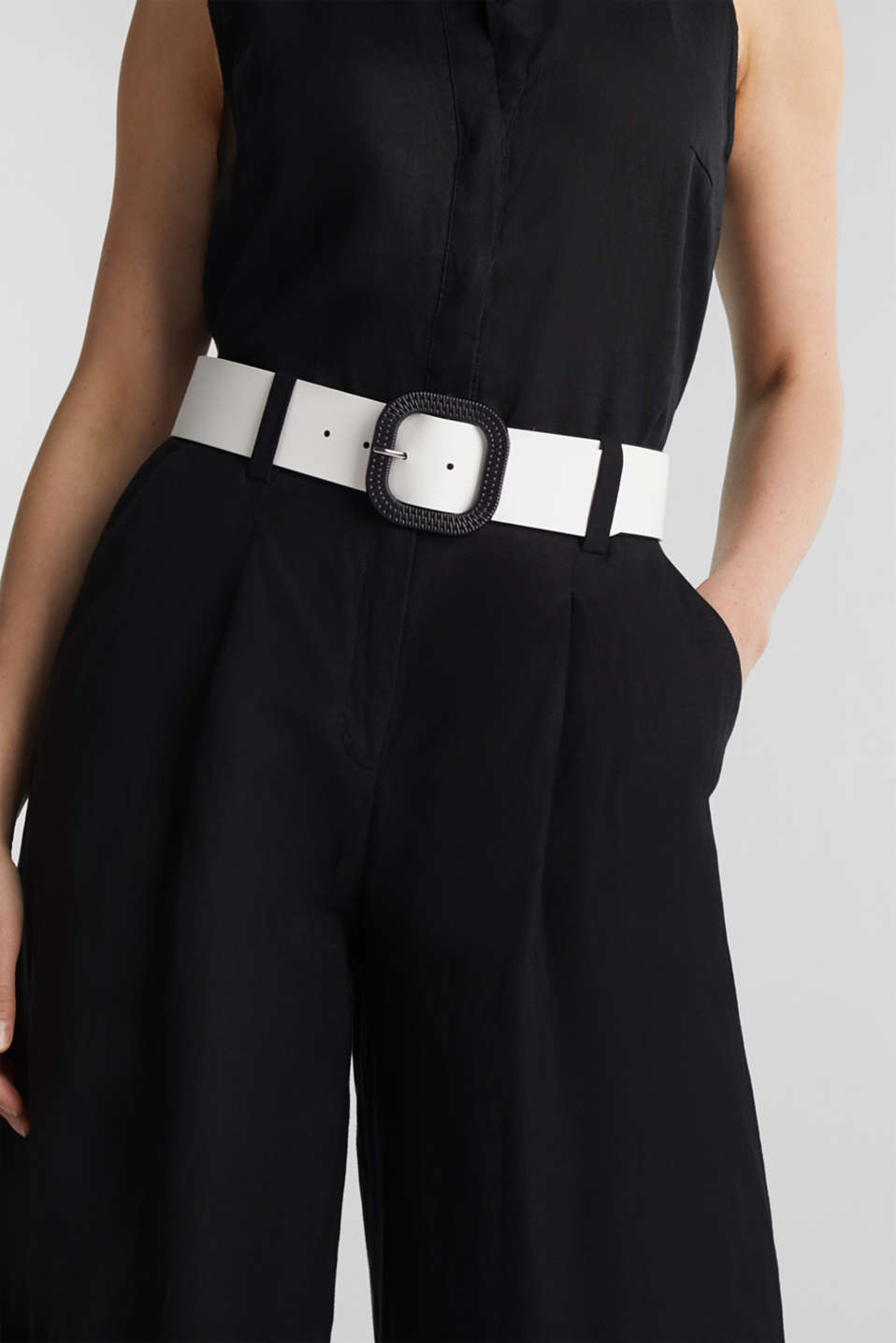 Leather belt, WHITE, detail image number 2