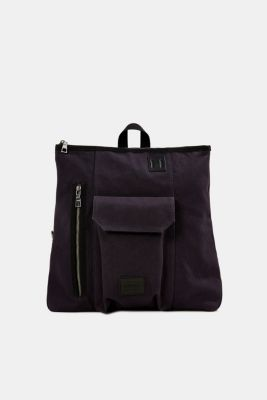 Rucksack with leather details, canvas, NAVY, detail