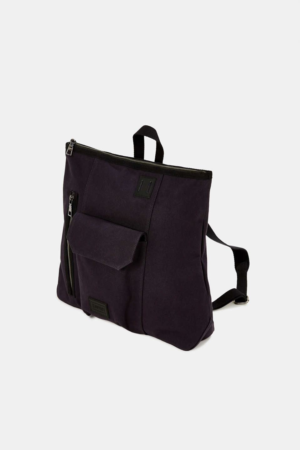 Rucksack with leather details, canvas, NAVY, detail image number 2
