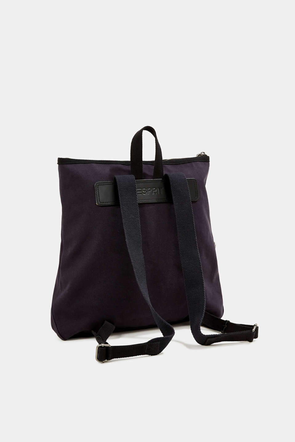 Rucksack with leather details, canvas, NAVY, detail image number 5