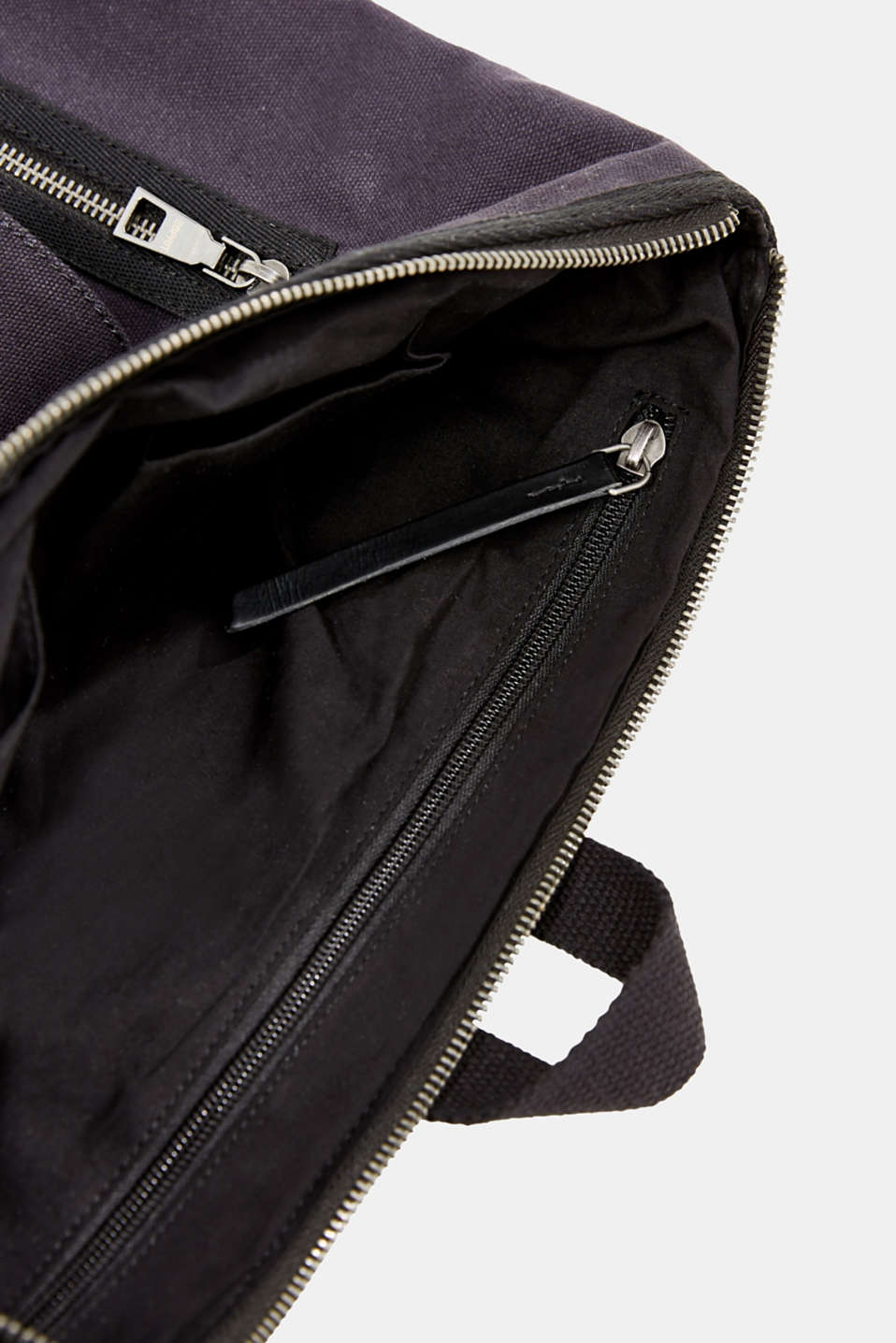 Rucksack with leather details, canvas, NAVY, detail image number 4
