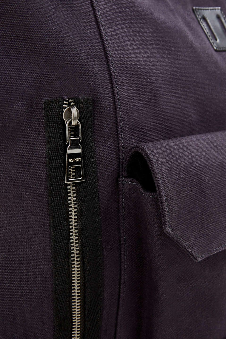 Rucksack with leather details, canvas, NAVY, detail image number 3