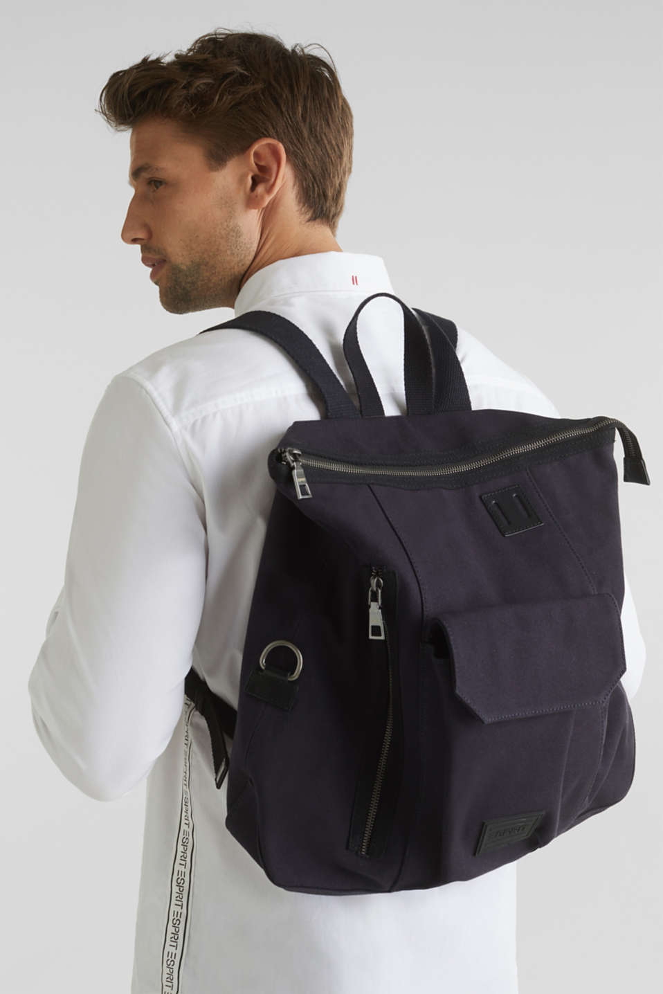Rucksack with leather details, canvas, NAVY, detail image number 1