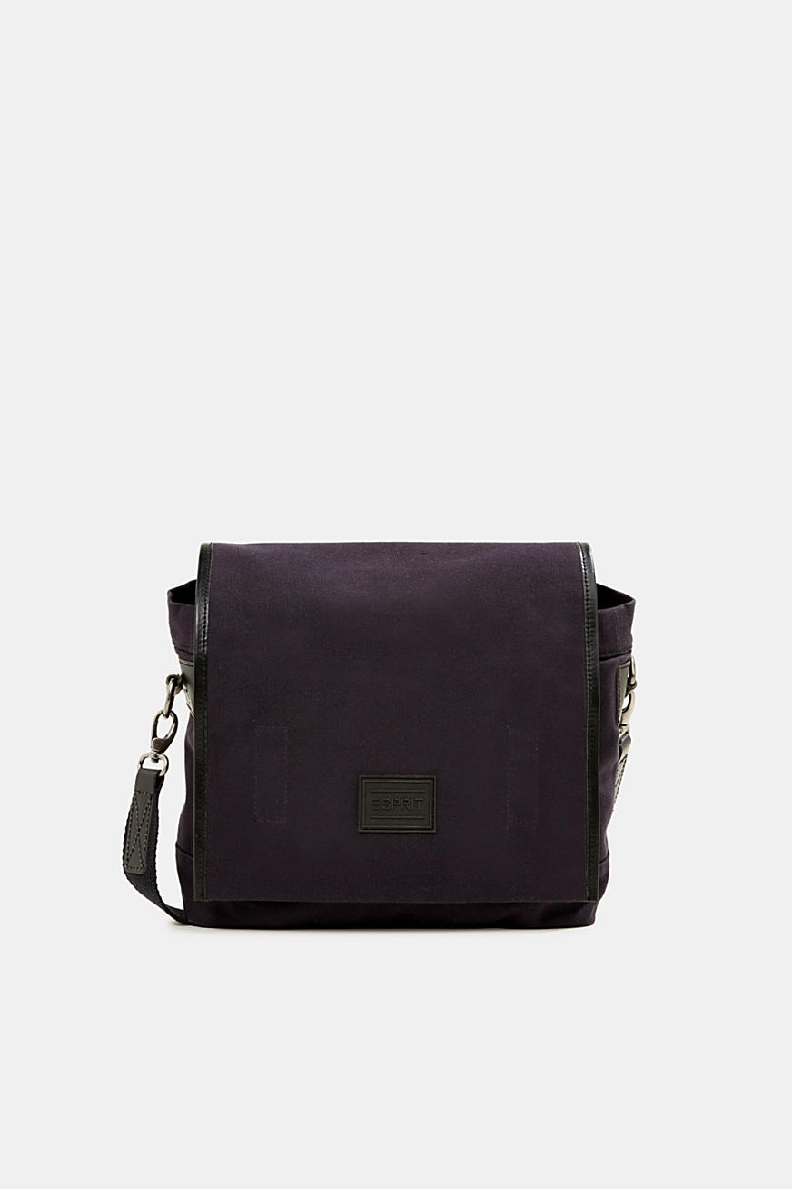 Shoulder bag with leather details, canvas