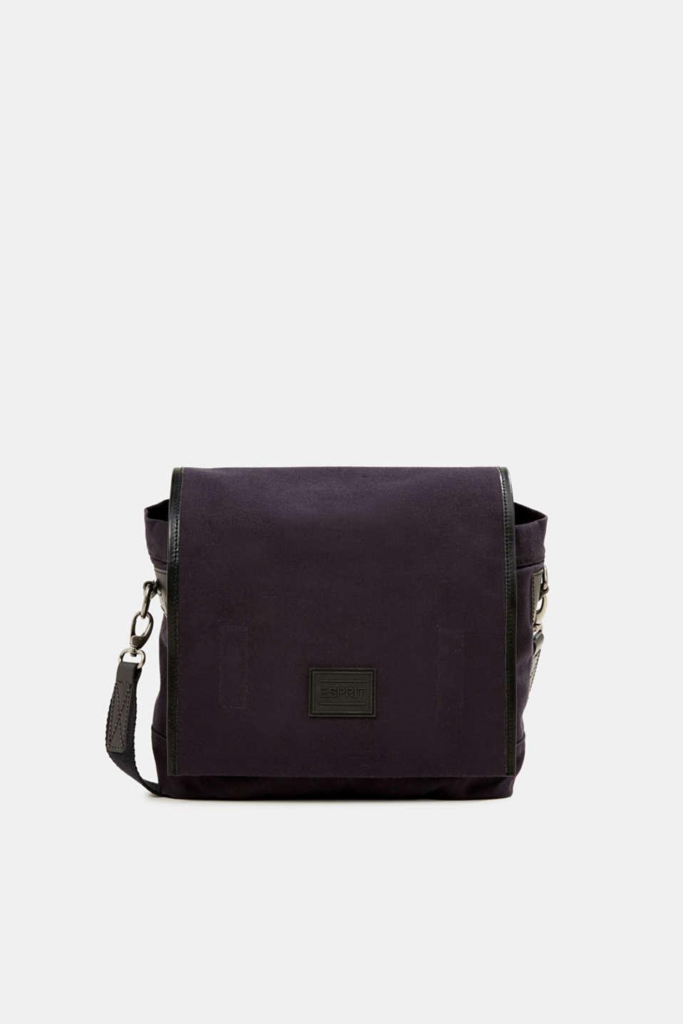 Shoulder bag with leather details, canvas, NAVY, detail image number 0
