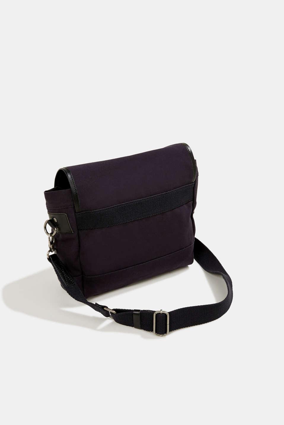 Shoulder bag with leather details, canvas, NAVY, detail image number 5