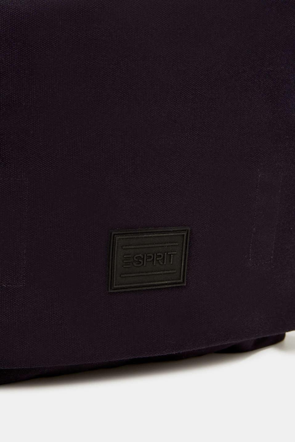 Shoulder bag with leather details, canvas, NAVY, detail image number 3