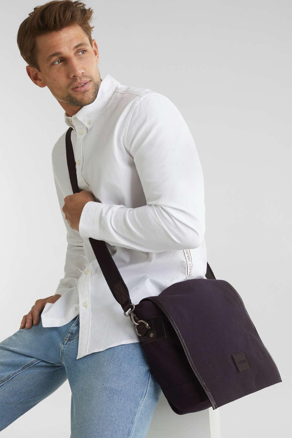 Shoulder bag with leather details, canvas, NAVY, detail image number 1