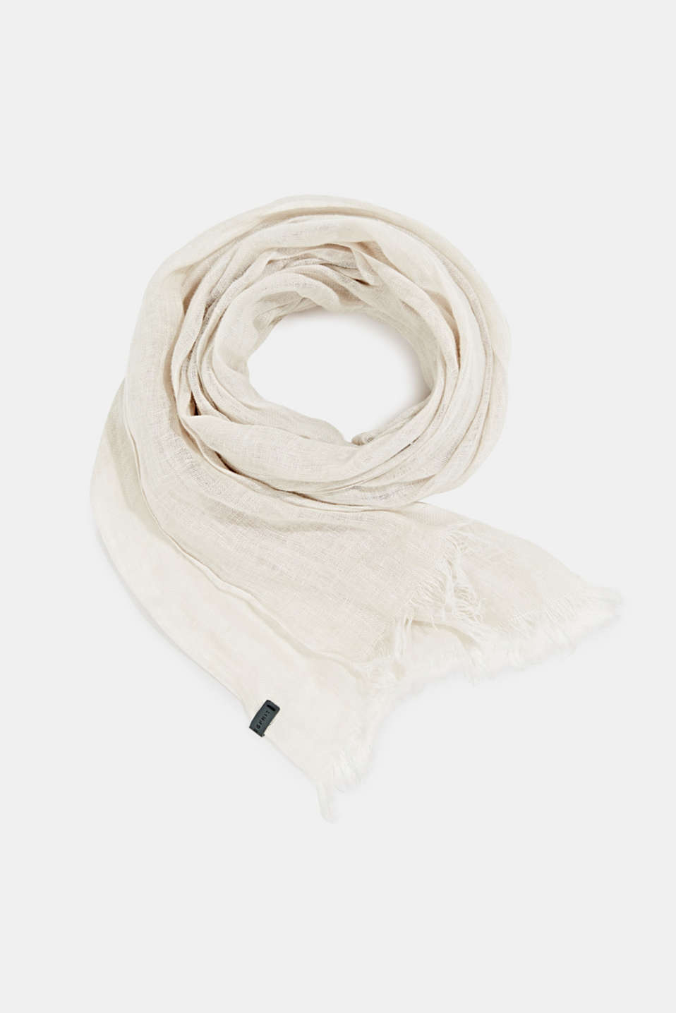 Woven scarf made of 100% linen, LIGHT BEIGE, detail image number 0
