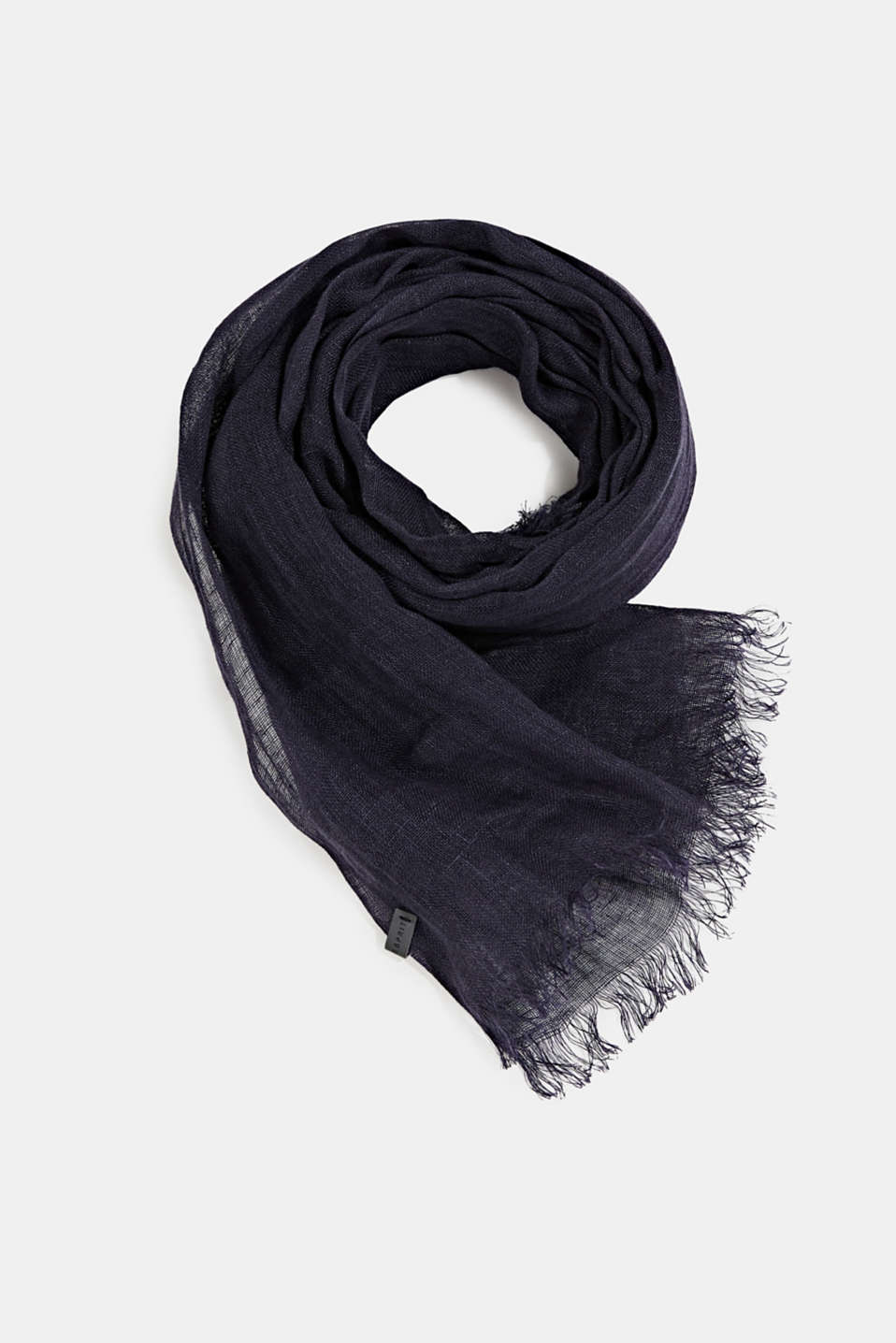 Woven scarf made of 100% linen, NAVY, detail image number 0