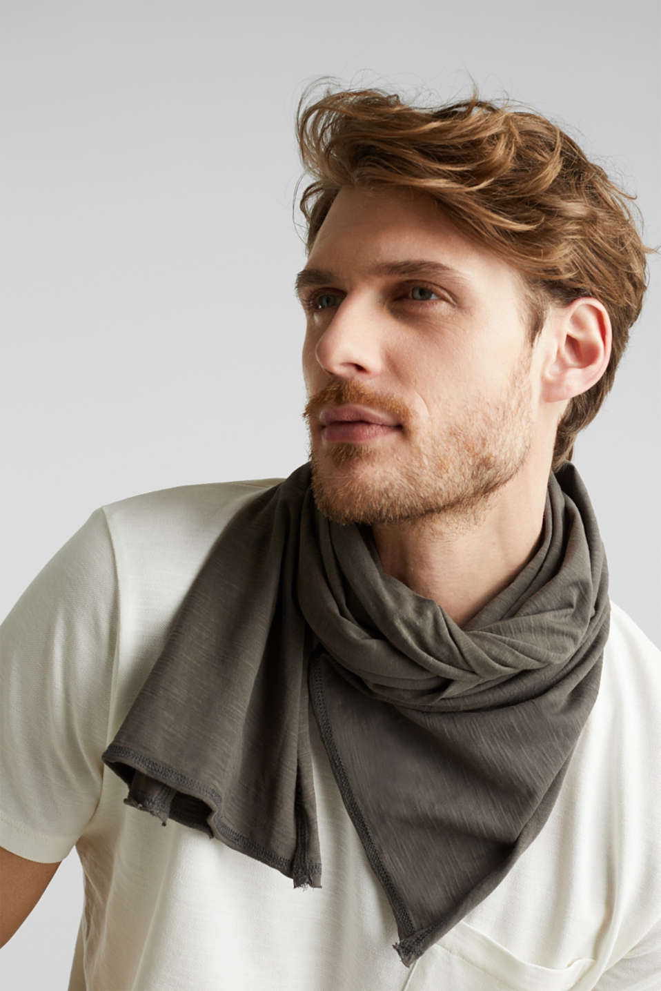 EarthColors®: jersey scarf, KHAKI GREEN, detail image number 1