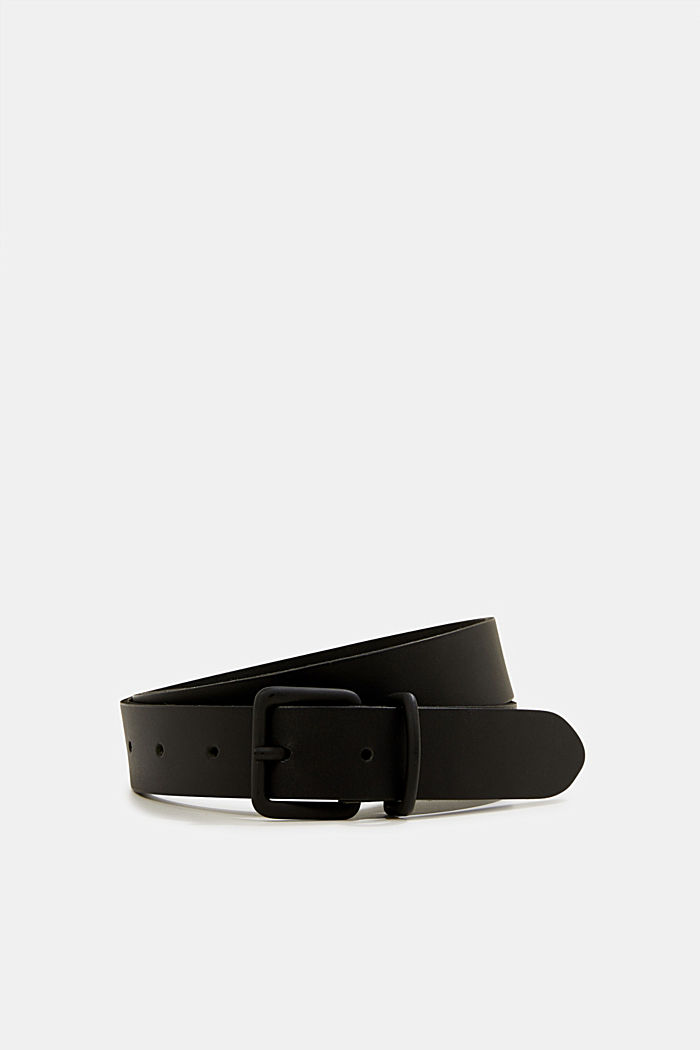 Matte leather belt, BLACK, detail image number 0