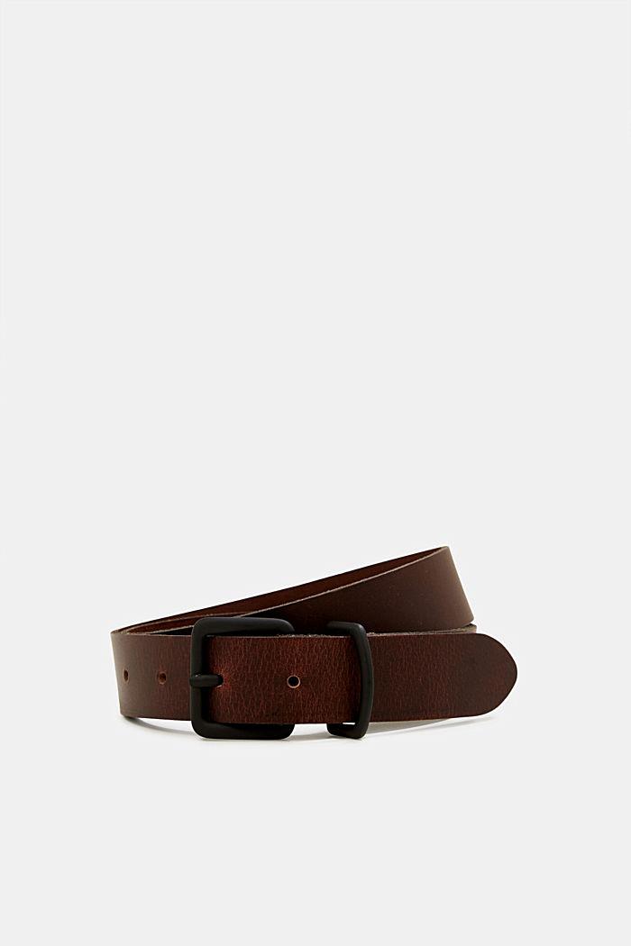 Matte leather belt, DARK BROWN, detail image number 0