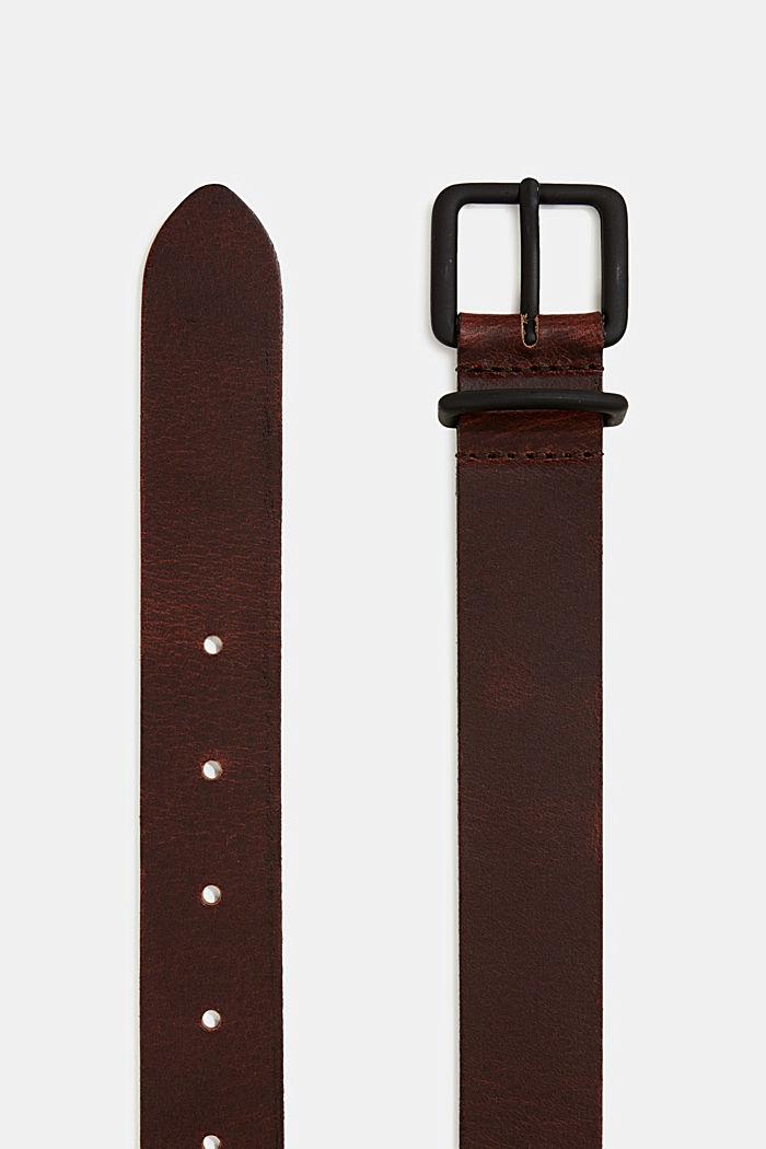 Matte leather belt, DARK BROWN, detail image number 1