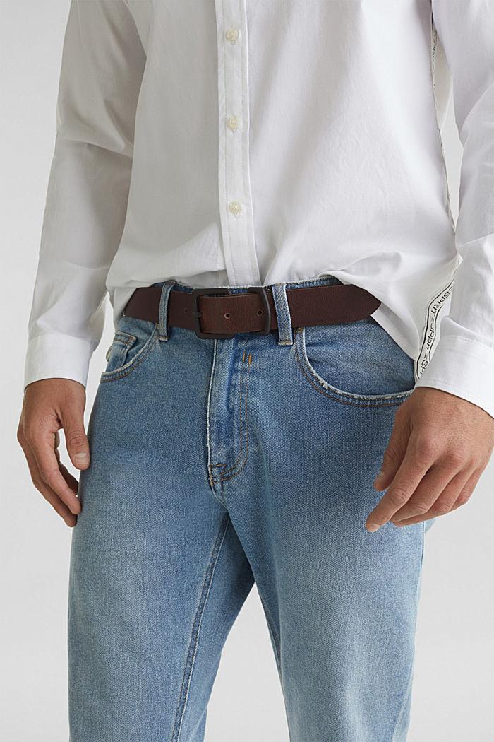 Matte leather belt, DARK BROWN, detail image number 2