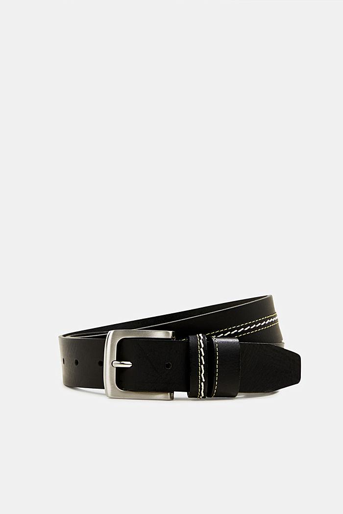 Bestickter Gürtel aus Leder, BLACK, detail image number 0