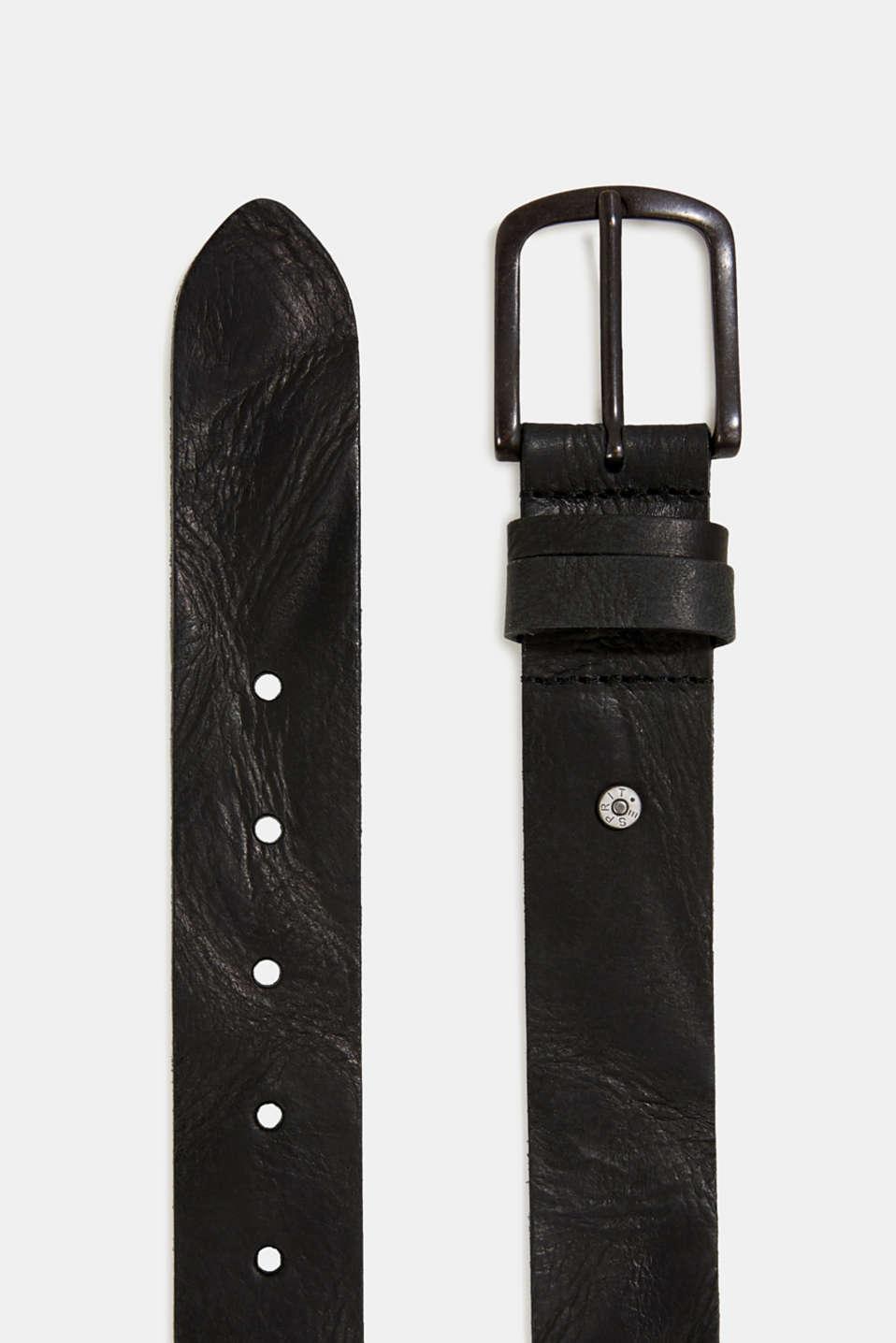 Belt in robust leather, BLACK, detail image number 1