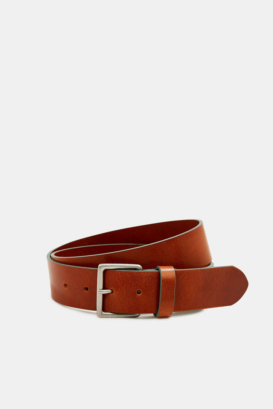 Shiny leather belt with colourful edges, TEAL GREEN, detail image number 0