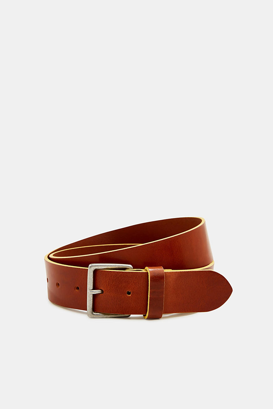 Shiny leather belt with colourful edges