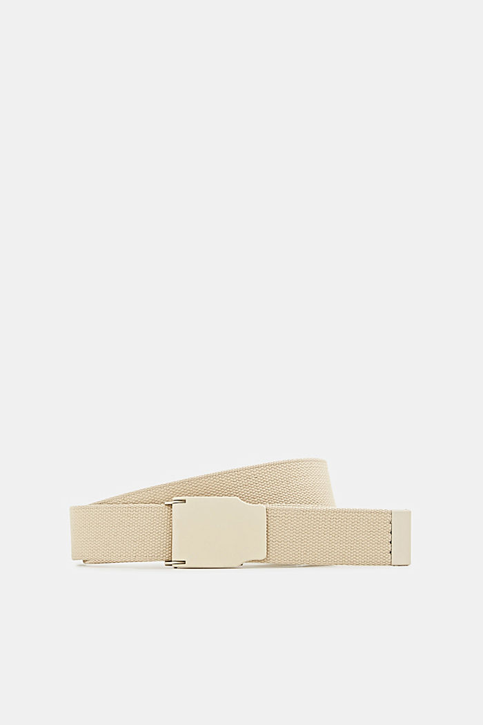 Woven belt with a plaque buckle, LIGHT BEIGE, detail image number 0