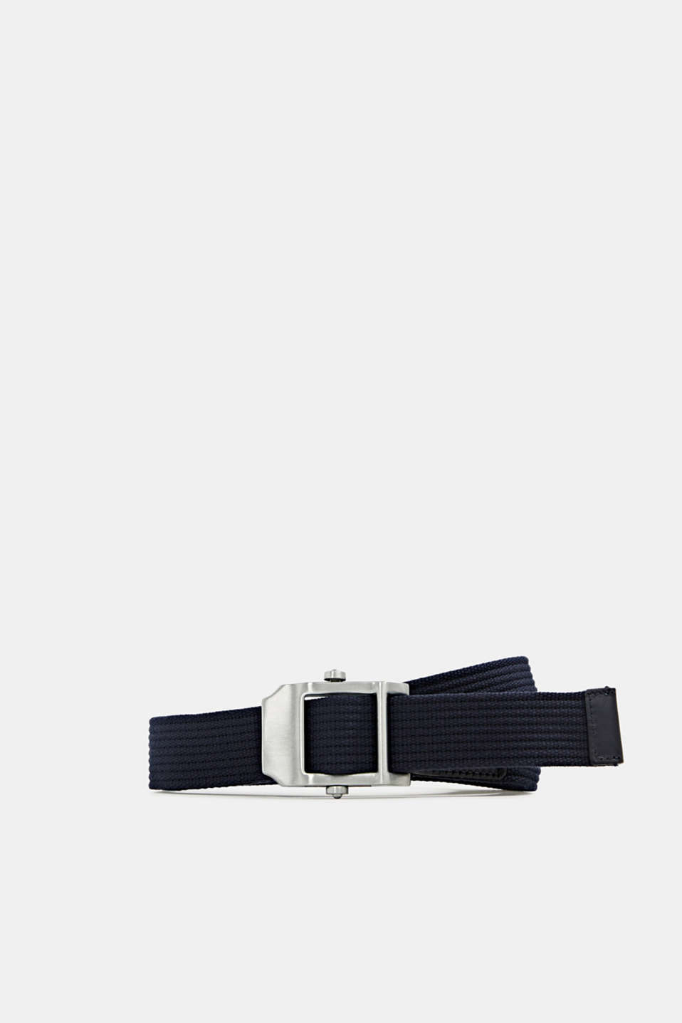 Woven belt with a modern metal buckle, NAVY, detail image number 0