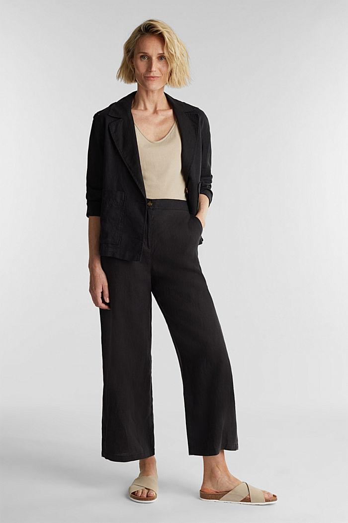 Van linnen: culotte met basic look, BLACK, detail image number 1