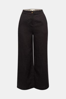 Made of linen: basic culottes, BLACK, detail