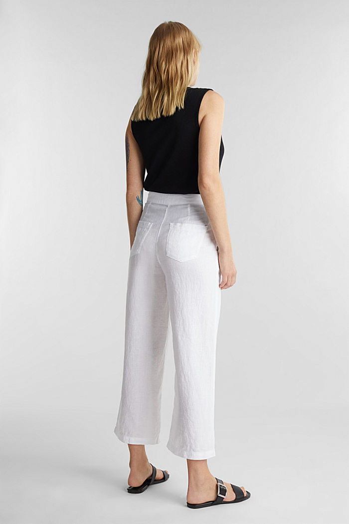 Aus Leinen: Culotte im Basic-Look, WHITE, detail image number 3