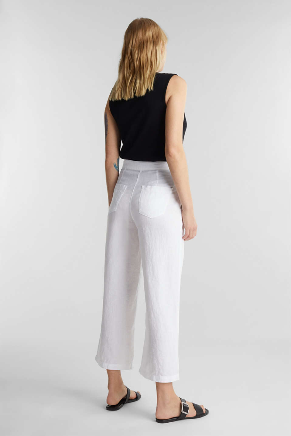 Made of linen: basic culottes, WHITE, detail image number 3
