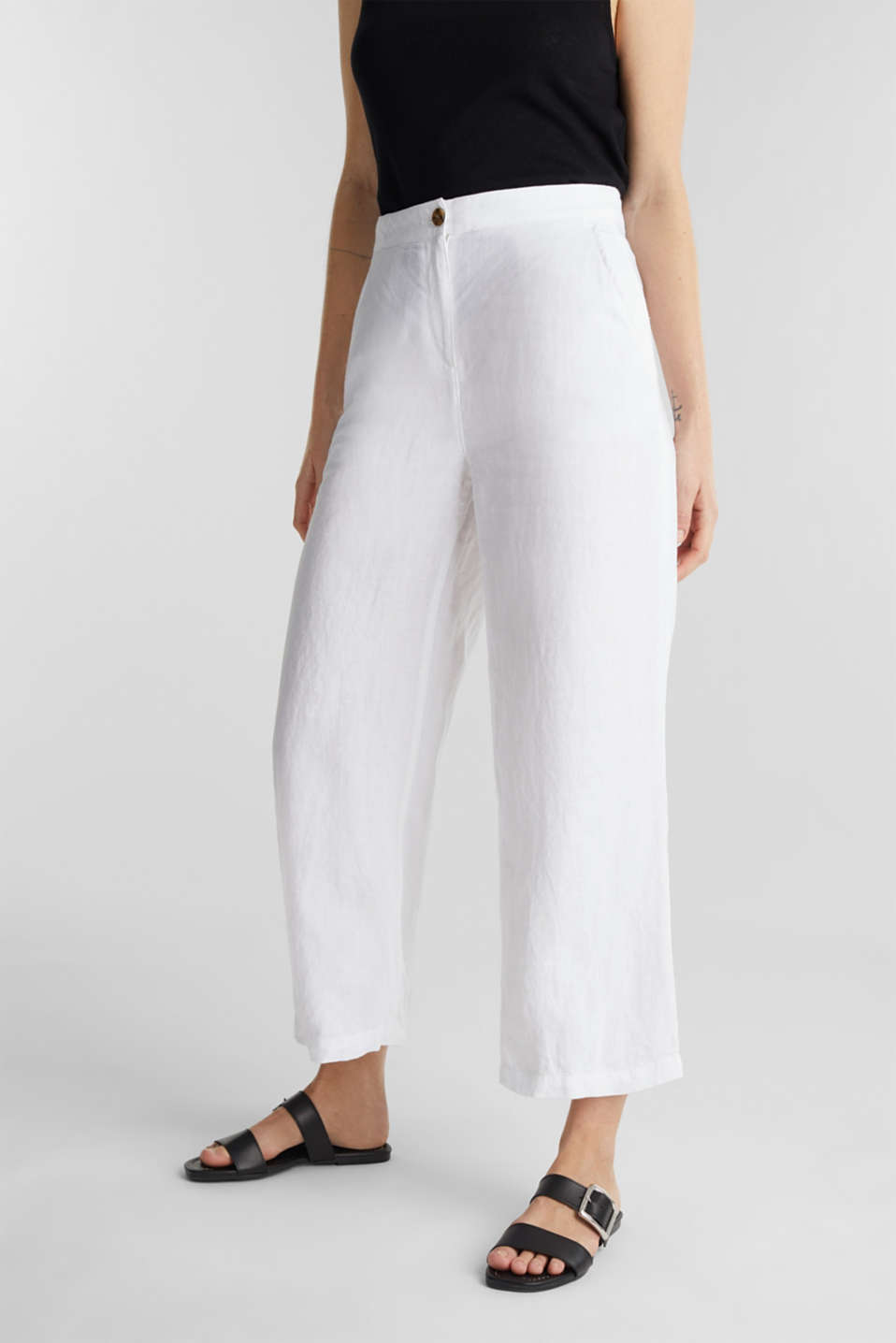 Made of linen: basic culottes, WHITE, detail image number 6